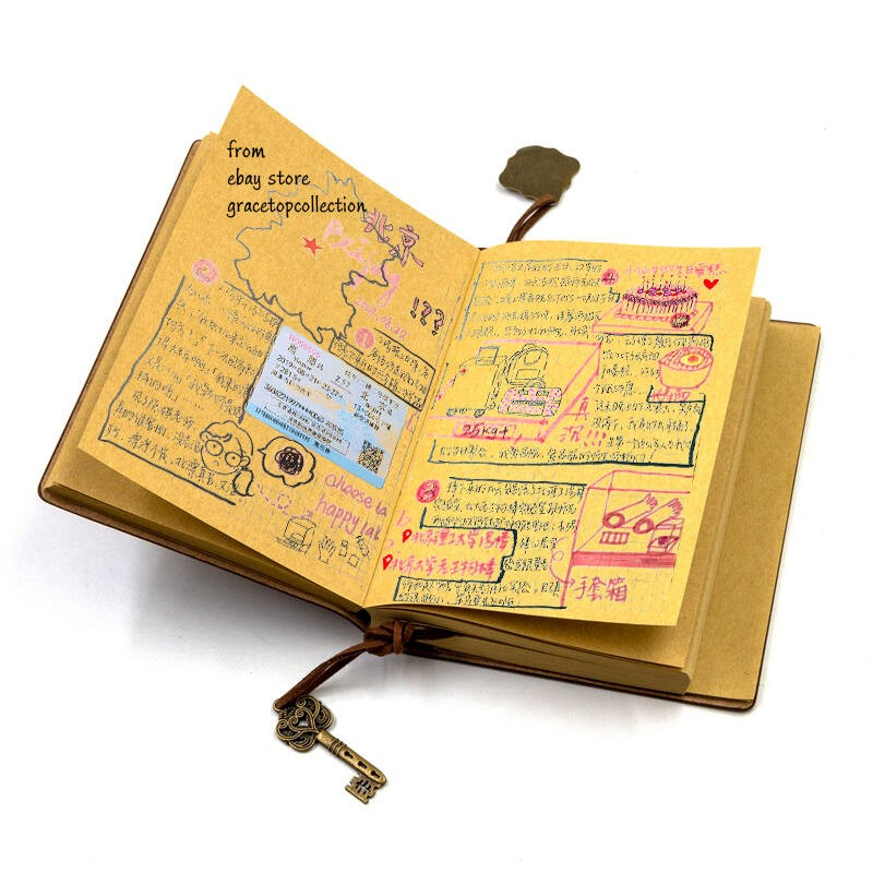 Pocket Size Travel Journal Leather Cover Kraft Paper Unlined Notebook 160 Pages Ebay