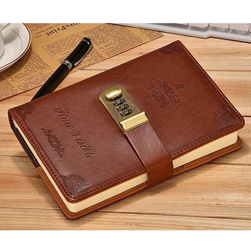 Details about Vintage Brown Leather Diary Writing Journal with Combination  Password Lock
